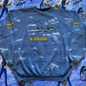 Vintage 90s Warbirds Military Plane Sweatshirt